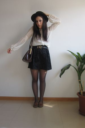 black skirt - black vintage hat - brown pull&bear shoes - black