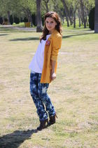 yellow vintage blazer - blue customized myself jeans
