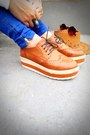 Blue-zipper-zara-pants-burnt-orange-flatform-oxford-jydn-shoes