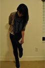 Blue-diy-scarf-beige-cardigan-white-bdg-top-black-forever-21-boots