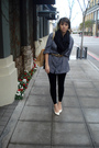 Gray-shirt-white-shoes-black-thrifted-from-crossroads-scarf-green-trifted-