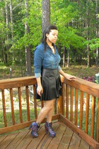 black pleather skirt DIY skirt - DIY boots - blue button up top H&M blouse