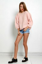 pink knit vintage sweater - black oxfords nike shoes