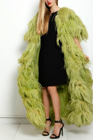 green feather vintage coat - black lbd nicole miller dress