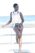 pull&bear shorts - Zara top - Bershka wedges