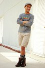 Brown-kenneth-cole-boots-gray-pacsun-sweater-beach-volcom-shorts
