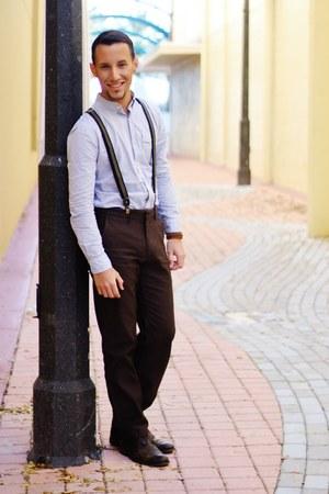 leather Aldo boots - stripes PacSun shirt - suspenders H&M accessories