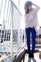 beige H&M shirt - blue Dr Denim pants - black H&M shoes