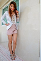 bracelet - blazer - Zara shorts - Miss Selfridges top - apple necklace