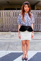 peplum Zara belt - heart-shaped necklace - lace Skirt skirt - vintage top