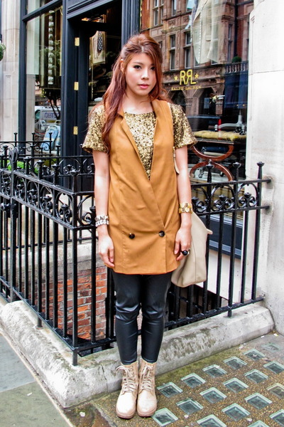 kicks boots - Zara leggings - H&M top - H&M vest - accessories