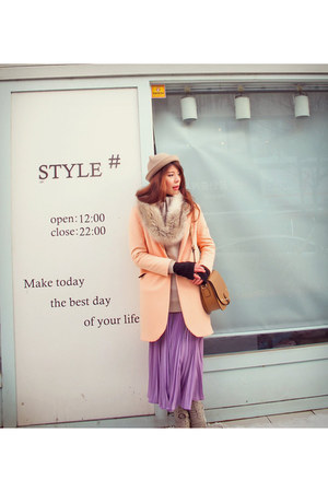 H&M coat - Aldo boots - hat - faux fur H&M scarf - Sleeping Pills skirt
