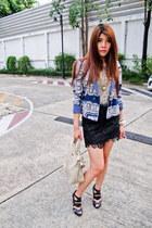 Zara blazer - Substance bag - top - skirt - necklace - Topshop heels