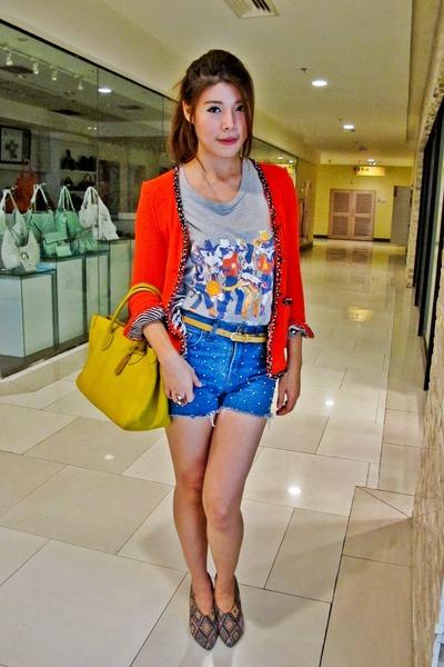 Zara blazer - bag - studded shorts - H&M belt - top - Jeffrey Campbell wedges