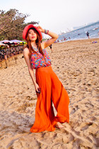 Marc Jacobs ring - pink hat - floral Forever 21 top - orange wide leg pants