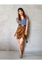 wrapdress Topshop dress - gold buckle Primark belt - Zara skirt