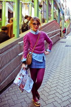 jeans shirt - bag - cat eye Chloe sunglasses - skirt - liberty love jumper