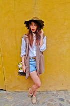 asoscom hat - white shirt shirt - shirt - denim shorts - Zara belt