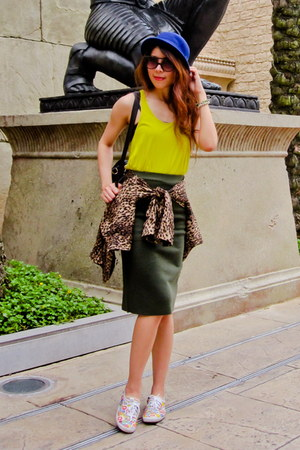 leopard Zara jacket - H&M hat - Karen Walker sunglasses - neon yellow Zara top
