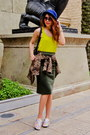 H-m-hat-leopard-zara-jacket-karen-walker-sunglasses-neon-yellow-zara-top