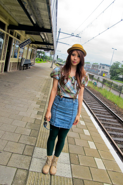 kicks boots - hat - leggings - high waisted skirt - tartan Pure top