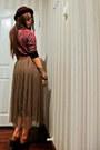 Skirt-aldo-shoes-topshop-hat-karen-walker-sunglasses-vintage-top
