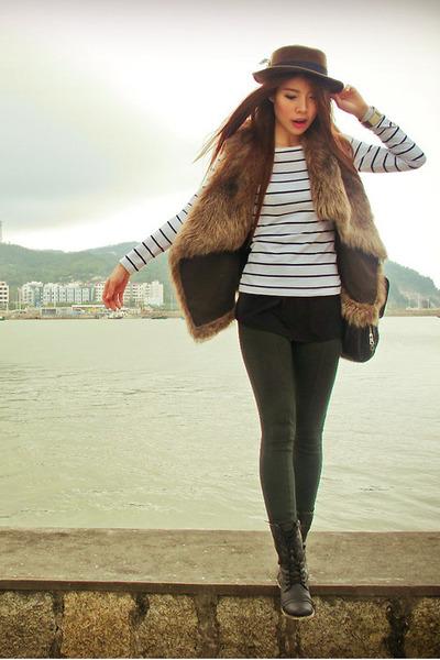 Zara leggings - Aldo boots - hat - H&M top - Zara vest - bracelet