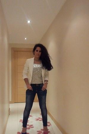 Bershka jeans - Koton blazer - Bershka heels - American Apparel necklace