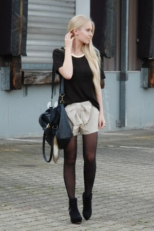 beige no brand shorts - dark brown H&M sweater - black Primark bag