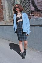 sky blue denim American Apparel vest - black bikini Topshop bra