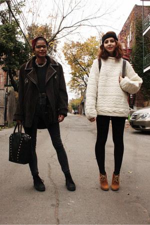 brown Steve Madden boots - brown Vintage Balmain coat - dark gray Just Usa jeans