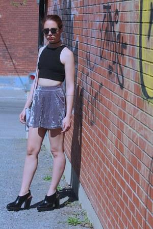 light purple velvet Topshop skirt