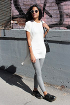 black Topshop leggings - ivory brandy melville top