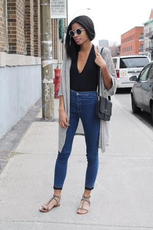 navy skinny Topshop jeans - black American Apparel bodysuit