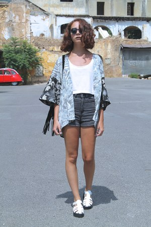 silver kimono H&M vest