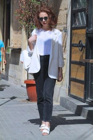 neutral Forever 21 blazer - dark gray high waisted Topshop jeans