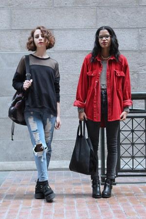 red corduroy thrifted vintage t-shirt - black transparent Forever 21 top