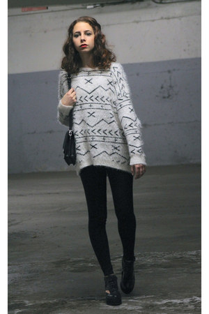 white geometric Forever 21 jumper - black cut out Shellys shoes