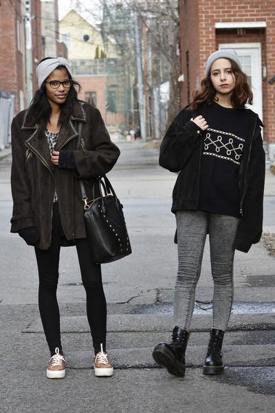 black Dr Martens boots - brown Balmain Vintage coat