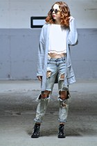 white cropped Topshop top