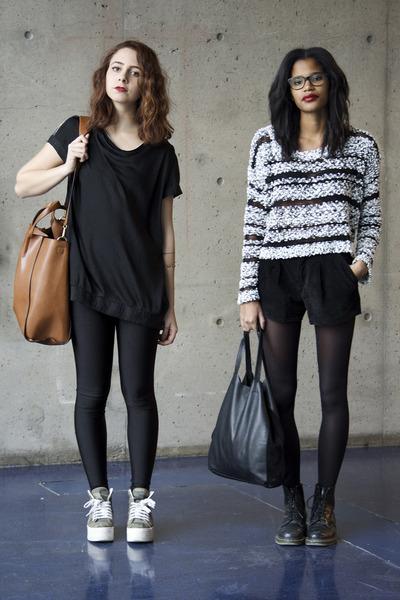 black Dr Martens boots - bronze Zara bag - black velvet Forever 21 shorts