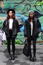 black leather thrifted vintage jacket - black leather thrifted vintage jacket
