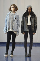 charcoal gray skinny Topshop jeans - sky blue denim American Apparel jacket