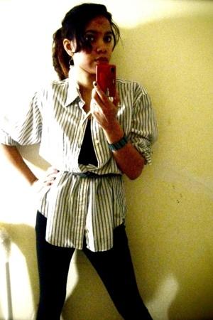 Target tights - calvin klein blouse - earrings - kohls t-shirt