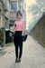 pink top - black pants - black Mango purse - black Aldo shoes