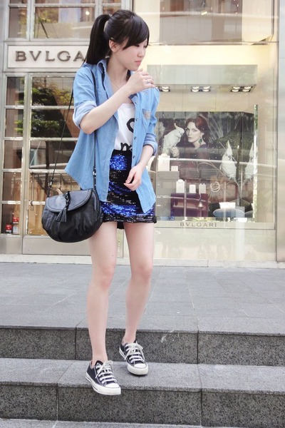 blue shirt - white Forever 21 top - blue cotton on skirt - black Mango purse - b
