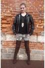 Brown-farenheit-boots-black-wool-kiabi-sweater-dark-khaki-pimkie-pants