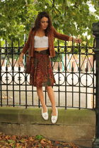 brown vintage Topshop skirt - white Minnetonka shoes - brown vintage cardigan -