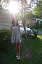white peep toe Ethel Austin shoes - blue pinstripe thrifted dress