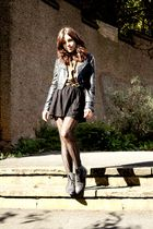 black Zara skirt - black jacket - black vintage from Ebay shoes - gold vintage s